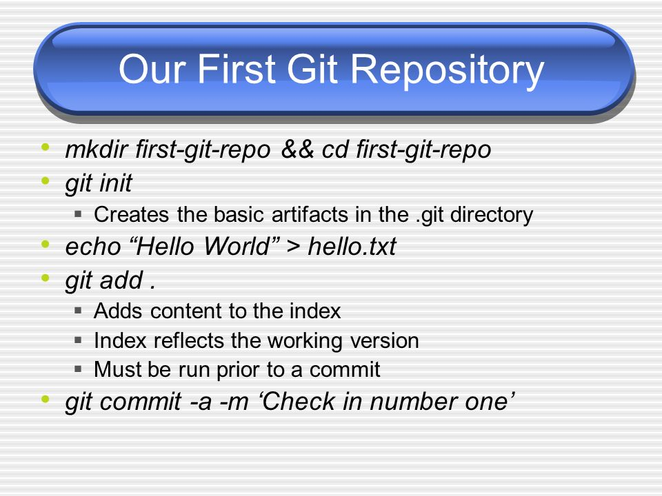 Our First Git Repository mkdir first-git-repo && cd first-git-repo git init Creates the basic artifacts in the.git directory echo Hello World > hello.txt git add.
