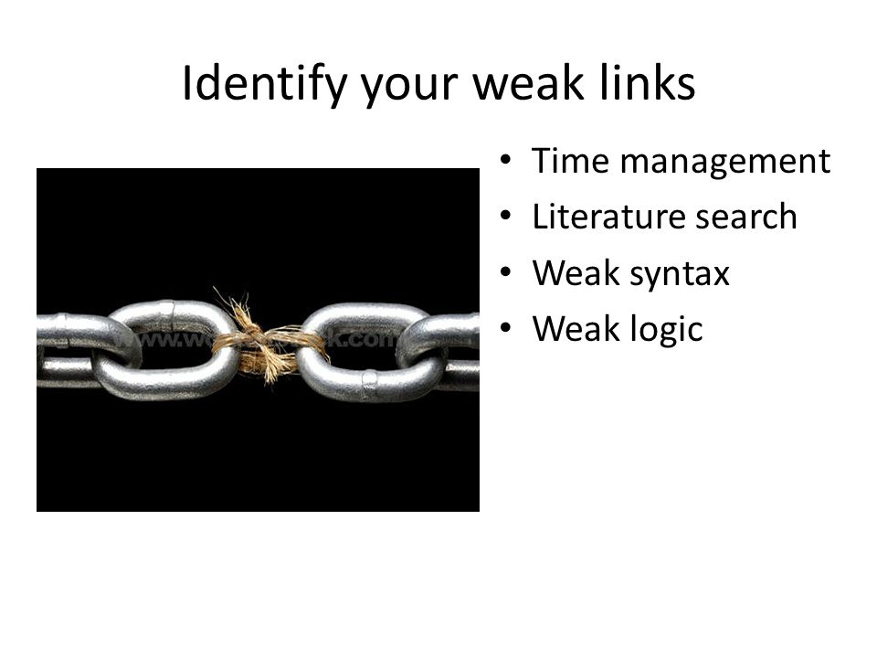 Identify your weak links Time management Literature search Weak syntax Weak logic