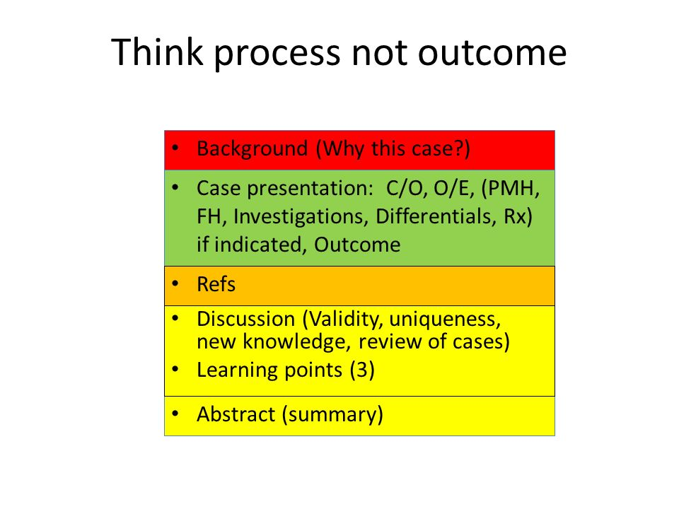 Think process not outcome Case presentation: C/O, O/E, (PMH, FH, Investigations, Differentials, Rx) if indicated, Outcome Abstract (summary) Refs Background (Why this case?) Discussion (Validity, uniqueness, new knowledge, review of cases) Learning points (3)