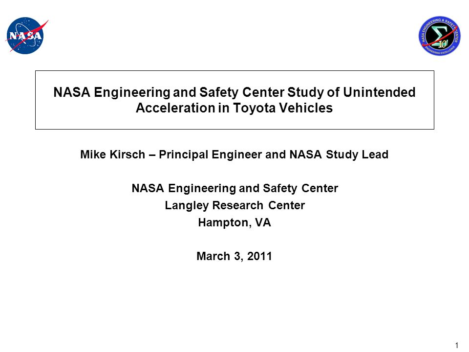 32 NASA Recommendation It is recommended that NHTSA consider whether additional study, government regulation, or policy is warranted based on the findings and observations within this report.