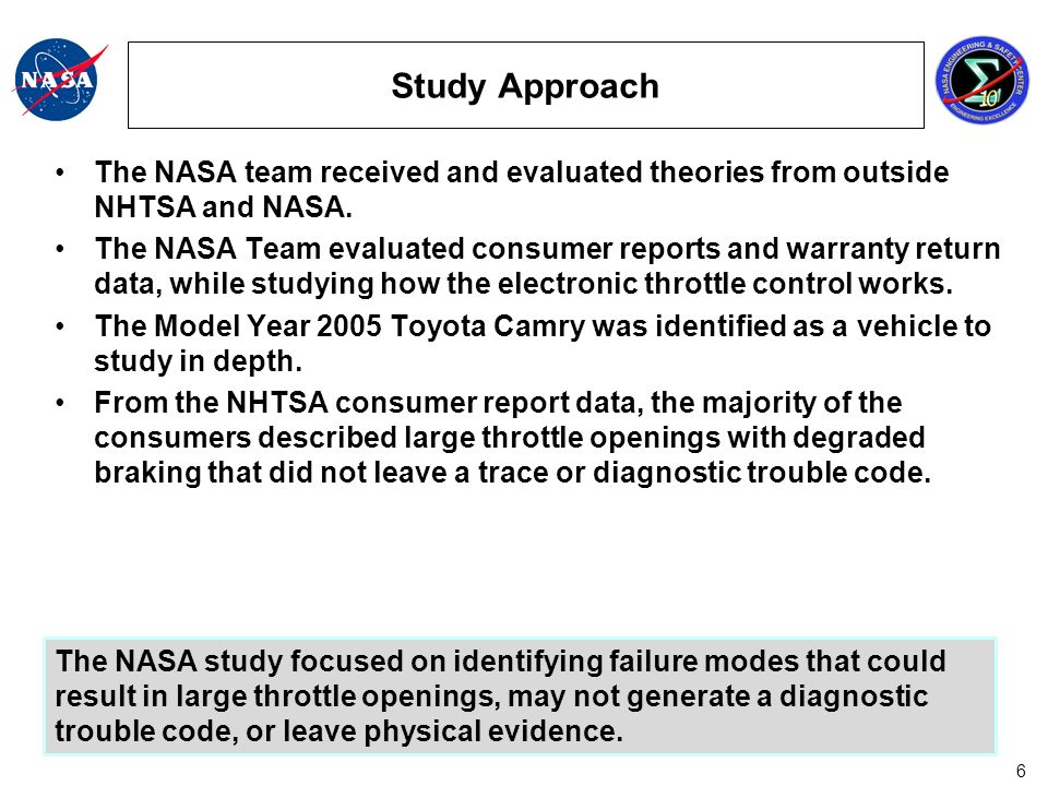 17 NASA Findings Functional failures of idle speed control, transmission control, vehicle stability control, and throttle control may result in throttle openings of less than 5 degrees above idle and may not generate a diagnostic trouble code.