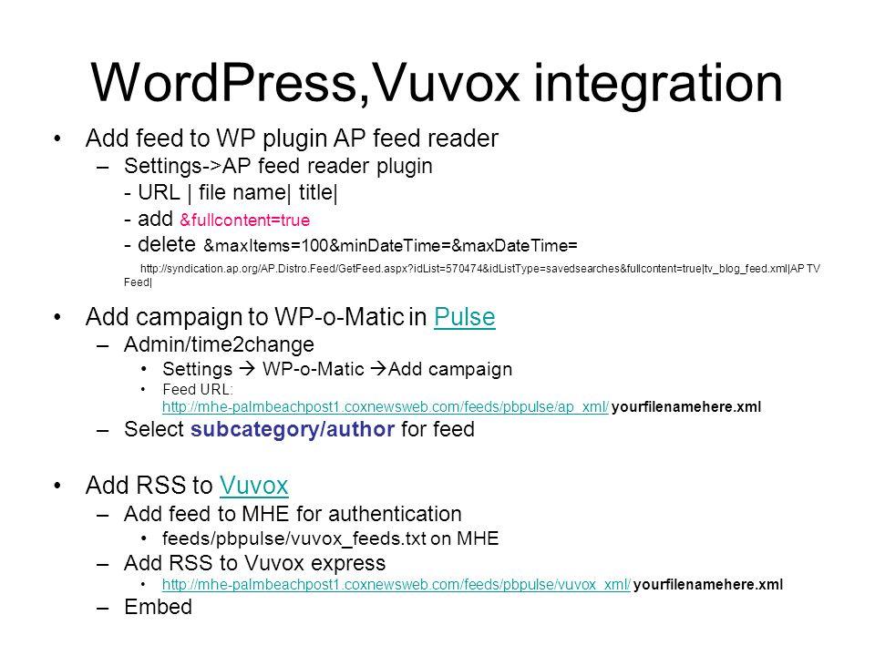 WordPress,Vuvox integration Add feed to WP plugin AP feed reader –Settings->AP feed reader plugin - URL | file name| title| - add &fullcontent=true -