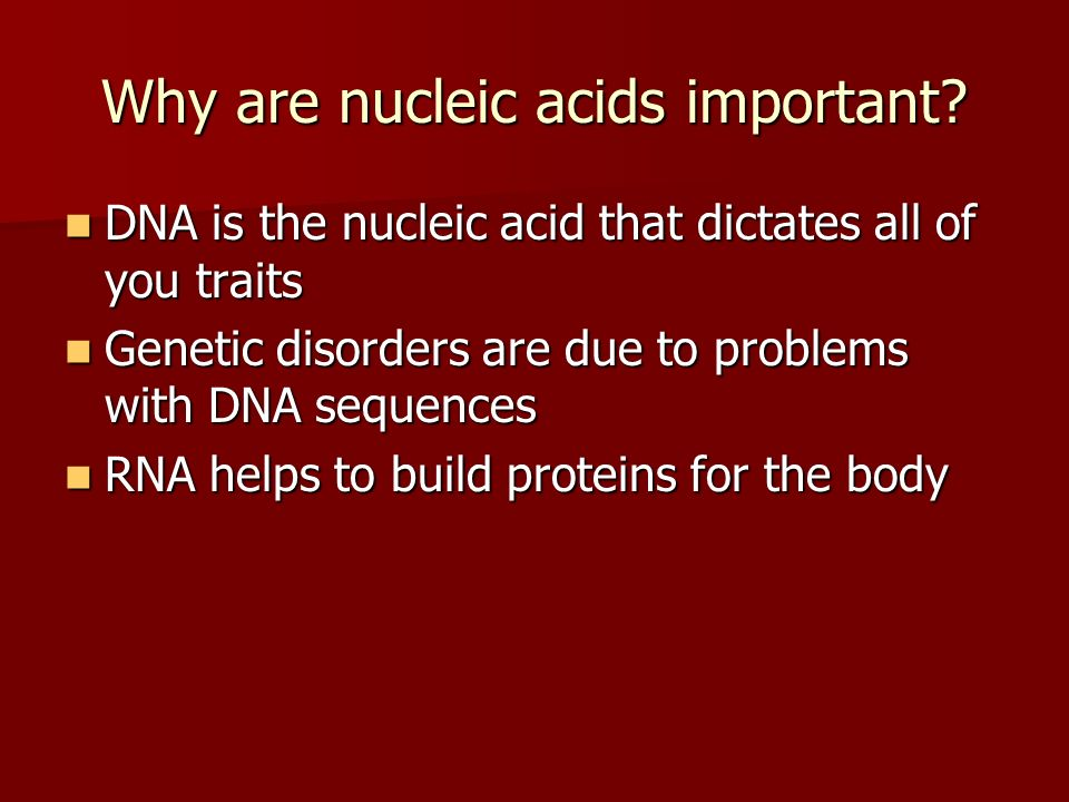 Why are nucleic acids important? DNA is the nucleic acid that dictates all of you traits DNA is the nucleic acid that dictates all of you traits Genet