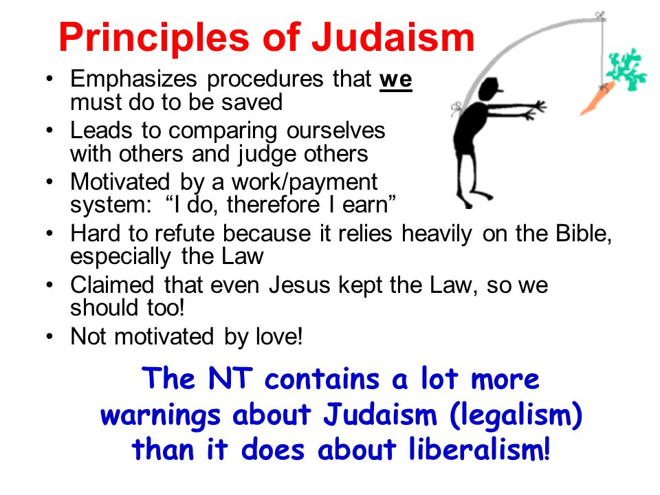Principles of Judaism Emphasizes procedures that we must do to be saved Leads to comparing ourselves with others and judge others Motivated by a work/