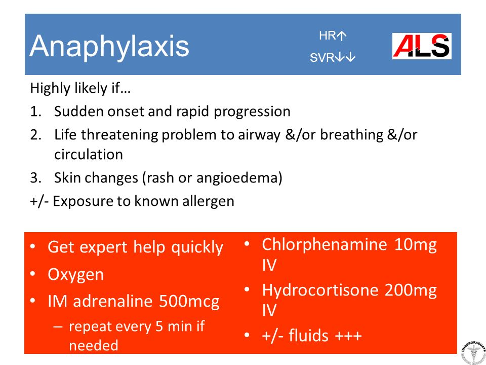 Anaphylaxis Get expert help quickly Oxygen IM adrenaline 500mcg – repeat every 5 min if needed Highly likely if… 1.Sudden onset and rapid progression
