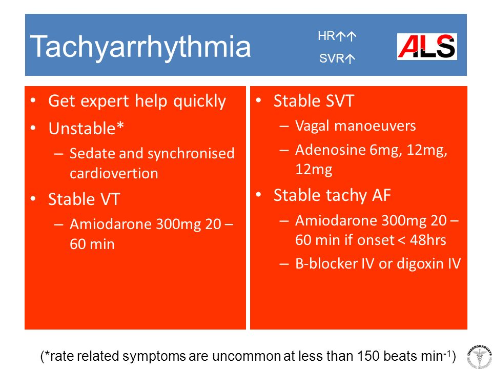 Tachyarrhythmia Get expert help quickly Unstable* – Sedate and synchronised cardiovertion Stable VT – Amiodarone 300mg 20 – 60 min Stable SVT – Vagal