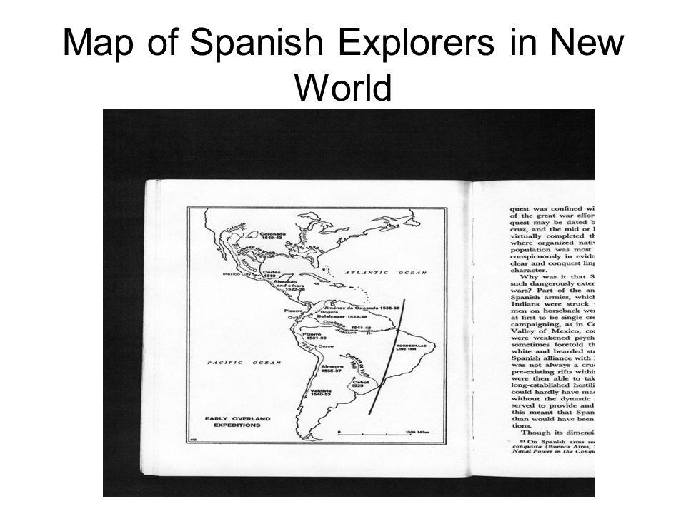 Map of Spanish Explorers in New World