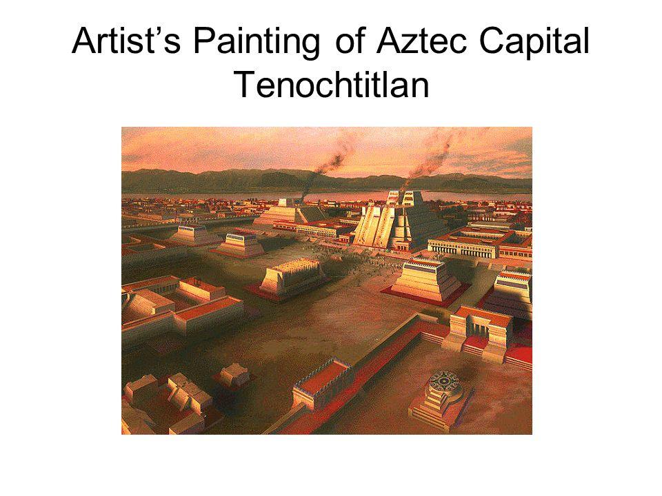 Artists Painting of Aztec Capital Tenochtitlan