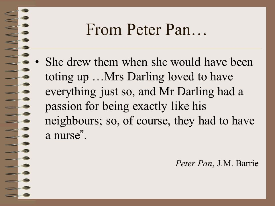 From Peter Pan… She drew them when she would have been toting up …Mrs Darling loved to have everything just so, and Mr Darling had a passion for being