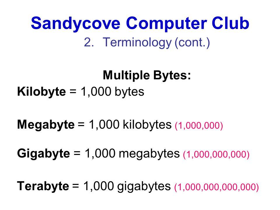 Sandycove Computer Club 2.Terminology (cont.) Multiple Bytes: Kilobyte = 1,000 bytes Megabyte = 1,000 kilobytes (1,000,000) Gigabyte = 1,000 megabytes