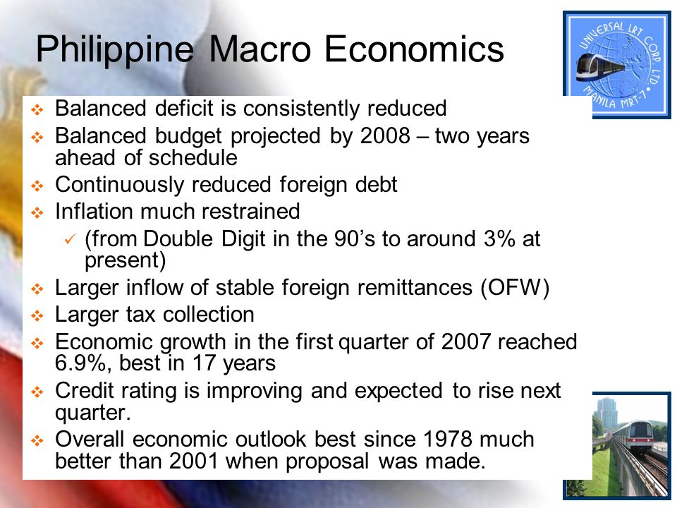 Philippine Macro Economics Balanced deficit is consistently reduced Balanced budget projected by 2008 – two years ahead of schedule Continuously reduc