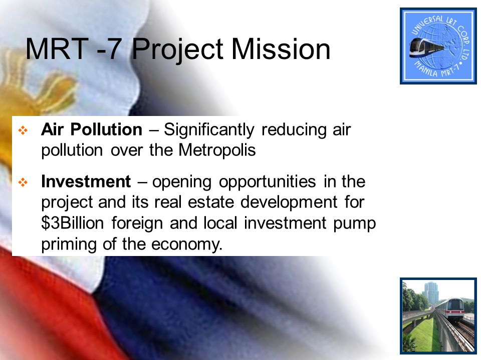 MRT -7 Project Mission Air Pollution – Significantly reducing air pollution over the Metropolis Investment – opening opportunities in the project and