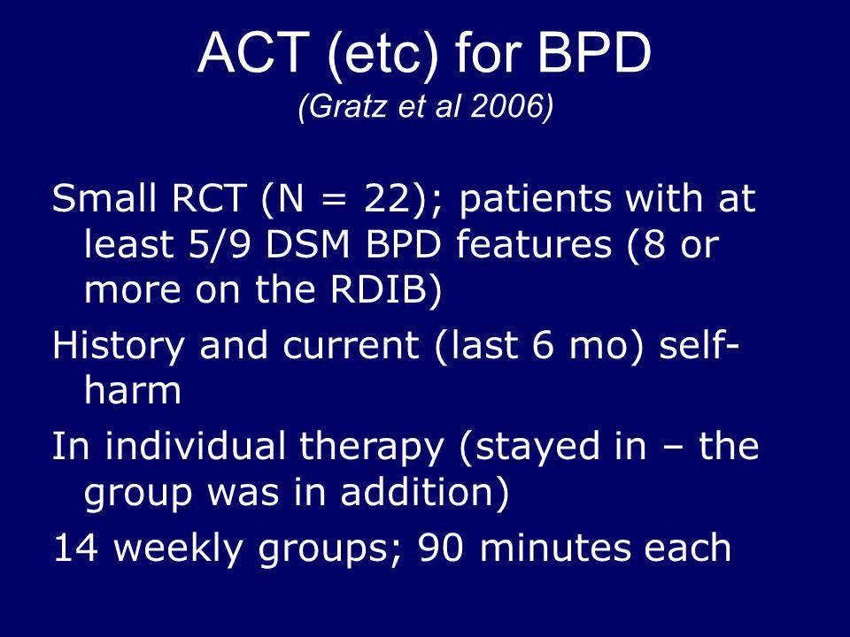 ACT (etc) for BPD (Gratz et al 2006) Small RCT (N = 22); patients with at least 5/9 DSM BPD features (8 or more on the RDIB) History and current (last