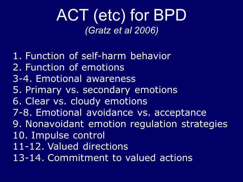 ACT (etc) for BPD (Gratz et al 2006) 1. Function of self-harm behavior 2. Function of emotions 3-4. Emotional awareness 5. Primary vs. secondary emoti