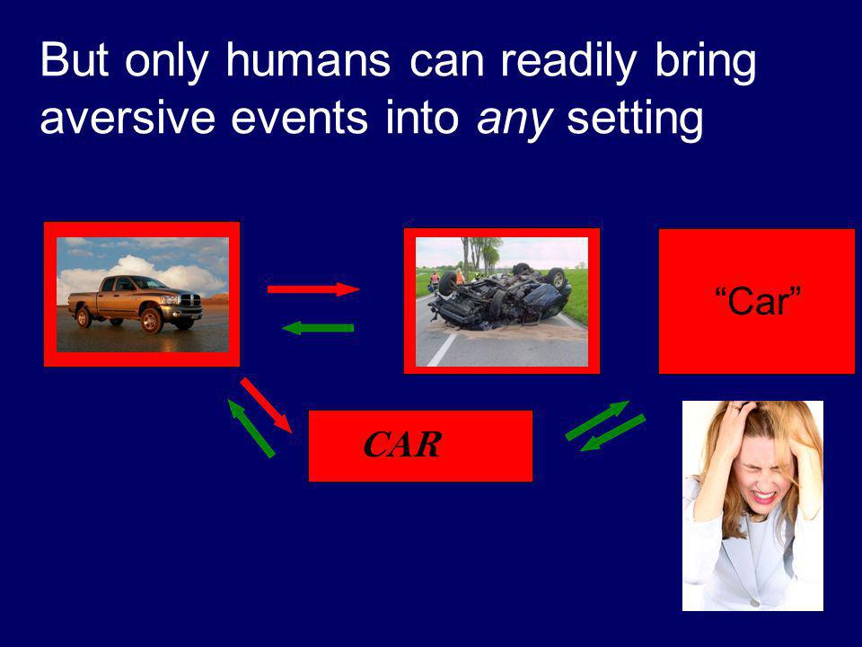 CAR But only humans can readily bring aversive events into any setting Car