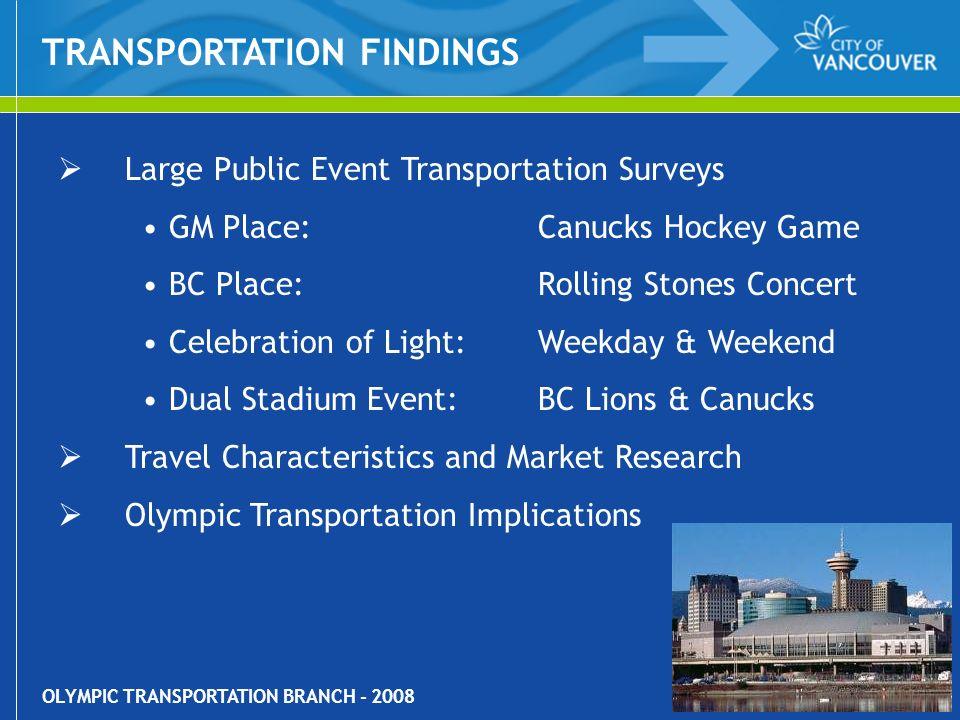 OLYMPIC TRANSPORTATION BRANCH - 2008 Large Public Event Transportation Surveys GM Place: Canucks Hockey Game BC Place: Rolling Stones Concert Celebrat