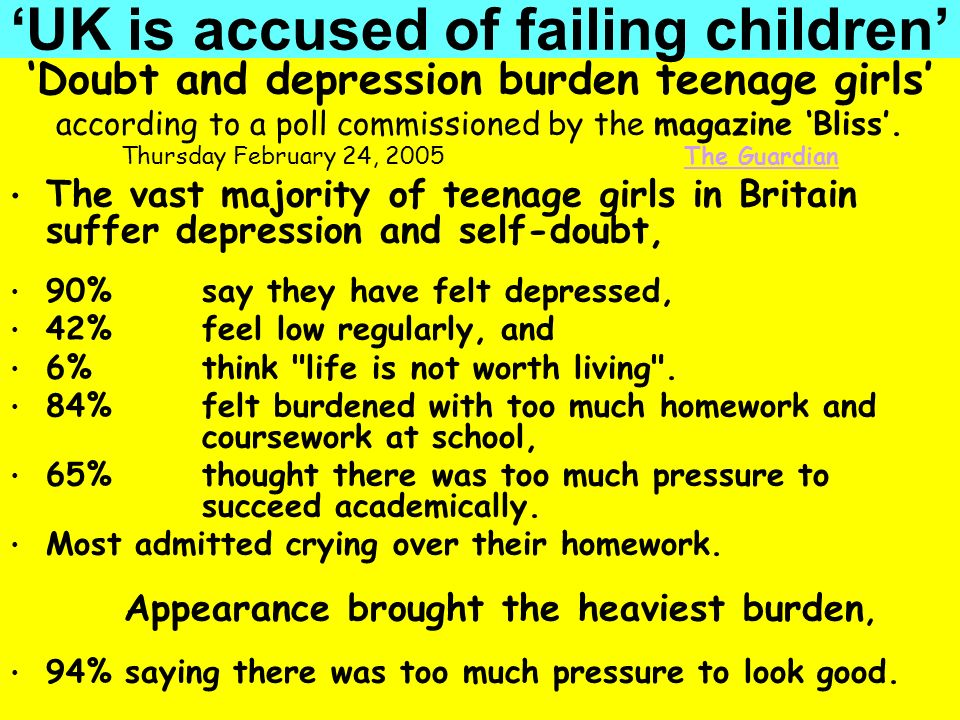People Progress Pride Doubt and depression burden teenage girls according to a poll commissioned by the magazine Bliss. Thursday February 24, 2005 The