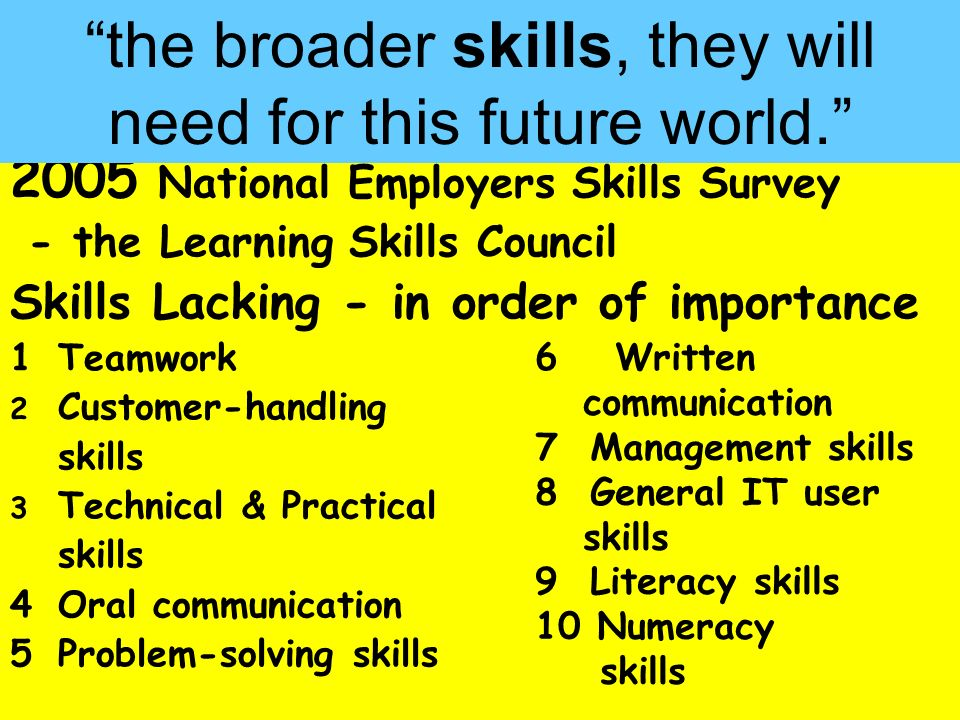 People Progress Pride 2005 National Employers Skills Survey - the Learning Skills Council Skills Lacking - in order of importance 1Teamwork 2 Customer