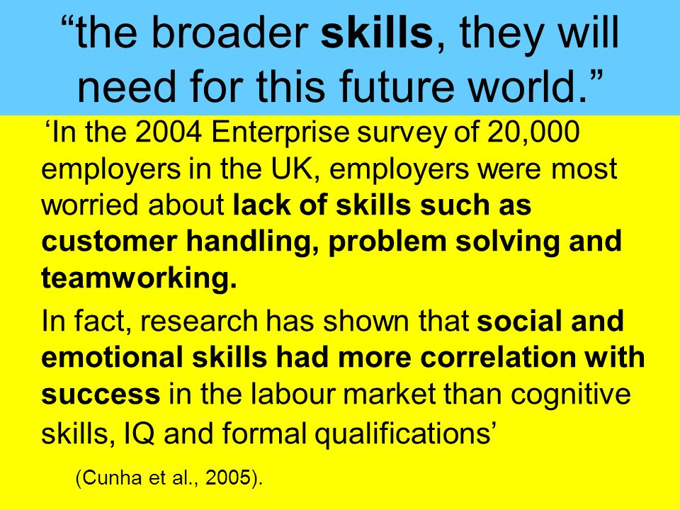 People Progress Pride In the 2004 Enterprise survey of 20,000 employers in the UK, employers were most worried about lack of skills such as customer h