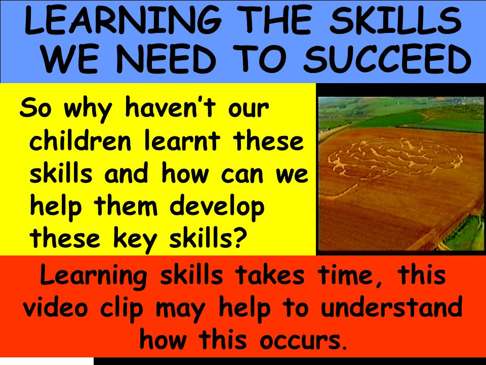 People Progress Pride LEARNING THE SKILLS WE NEED TO SUCCEED So why havent our children learnt these skills and how can we help them develop these key