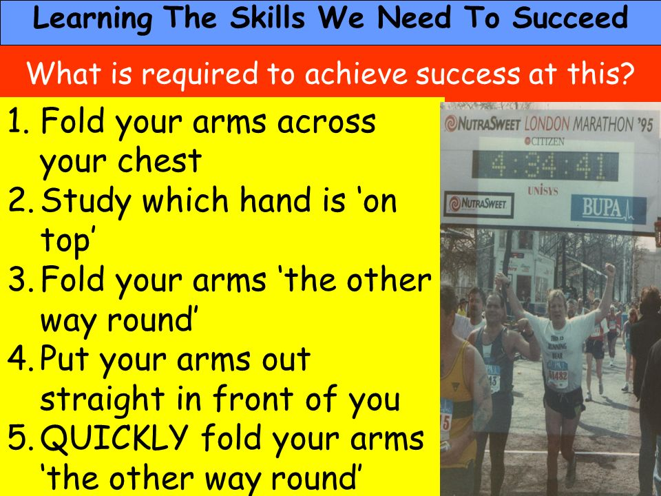 People Progress Pride What is required to achieve success at this? 1.Fold your arms across your chest 2.Study which hand is on top 3.Fold your arms th