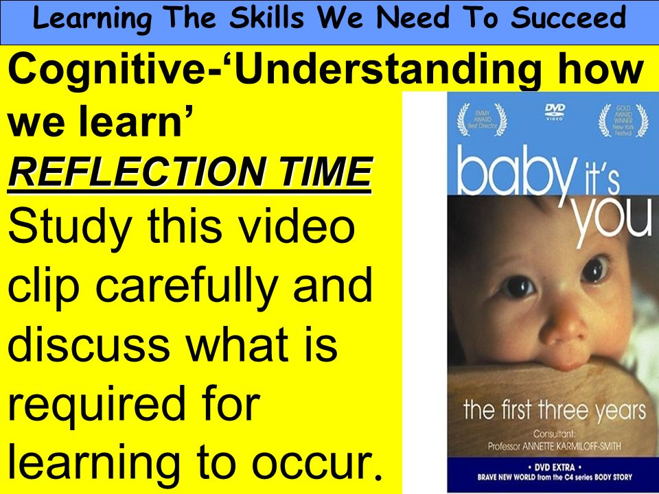 People Progress Pride Cognitive-Understanding how we learn REFLECTION TIME Study this video clip carefully and discuss what is required for learning t