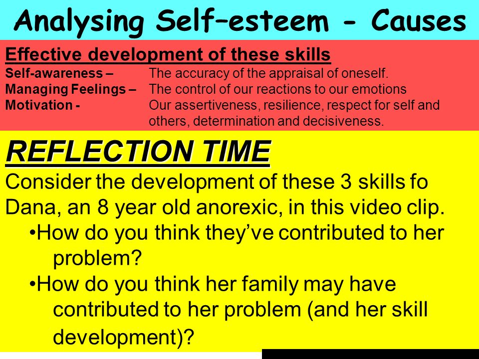 People Progress Pride Analysing Self–esteem - Causes Effective development of these skills Self-awareness – The accuracy of the appraisal of oneself.