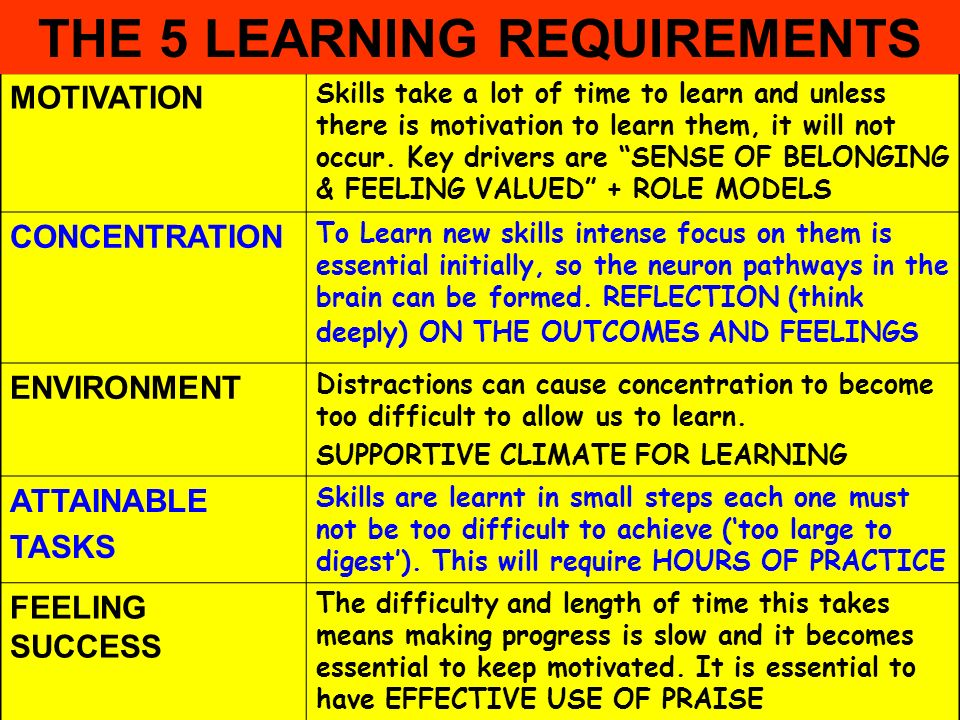 People Progress Pride MOTIVATION Skills take a lot of time to learn and unless there is motivation to learn them, it will not occur. Key drivers are S