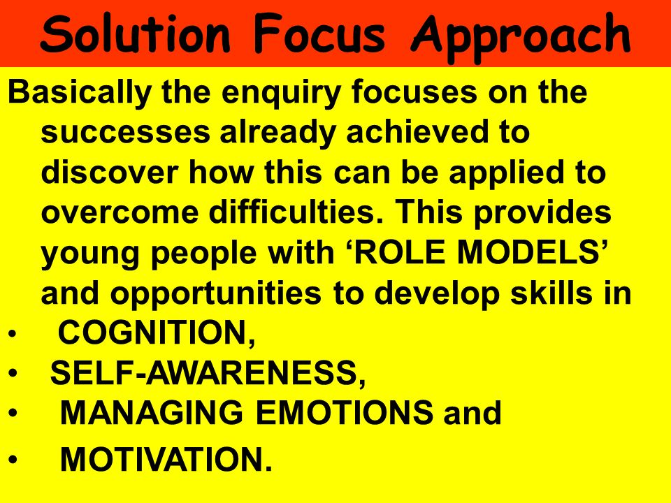 People Progress Pride Basically the enquiry focuses on the successes already achieved to discover how this can be applied to overcome difficulties. Th