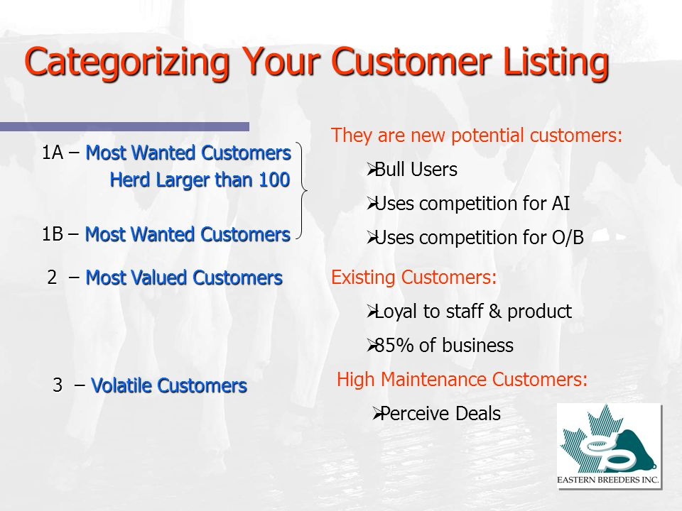 Categorizing Your Customer Listing 1A – Most Wanted Customers Herd Larger than 100 1B – Most Wanted Customers They are new potential customers: Bull U