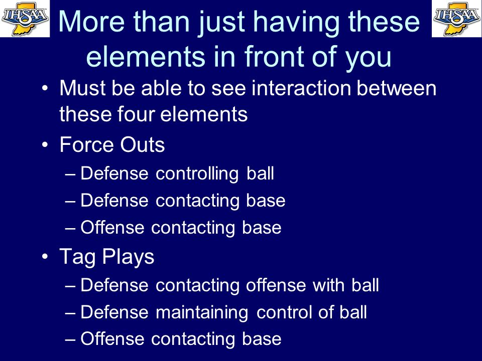 More than just having these elements in front of you Must be able to see interaction between these four elements Force Outs –Defense controlling ball
