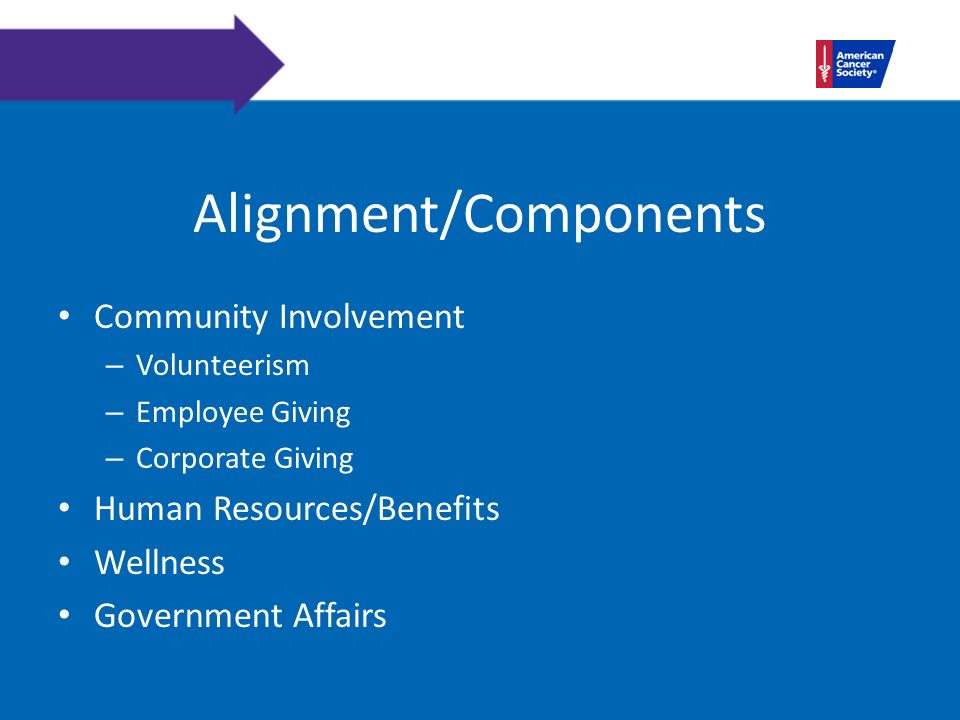 Alignment/Components Community Involvement – Volunteerism – Employee Giving – Corporate Giving Human Resources/Benefits Wellness Government Affairs