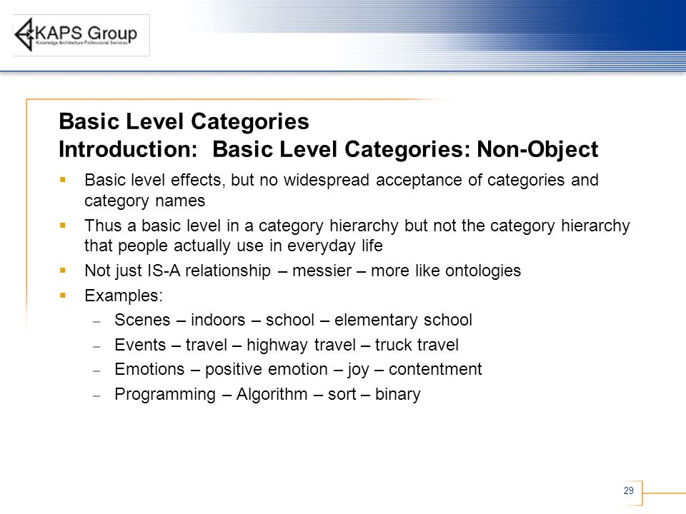 29 Basic Level Categories Introduction: Basic Level Categories: Non-Object Basic level effects, but no widespread acceptance of categories and category names Thus a basic level in a category hierarchy but not the category hierarchy that people actually use in everyday life Not just IS-A relationship – messier – more like ontologies Examples: – Scenes – indoors – school – elementary school – Events – travel – highway travel – truck travel – Emotions – positive emotion – joy – contentment – Programming – Algorithm – sort – binary