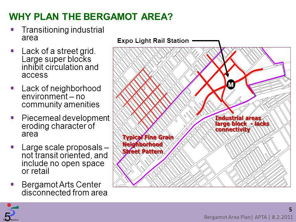 Bergamot Area Plan| APTA | 8.2.2011 Transitioning industrial area Lack of a street grid. Large super blocks inhibit circulation and access Lack of nei