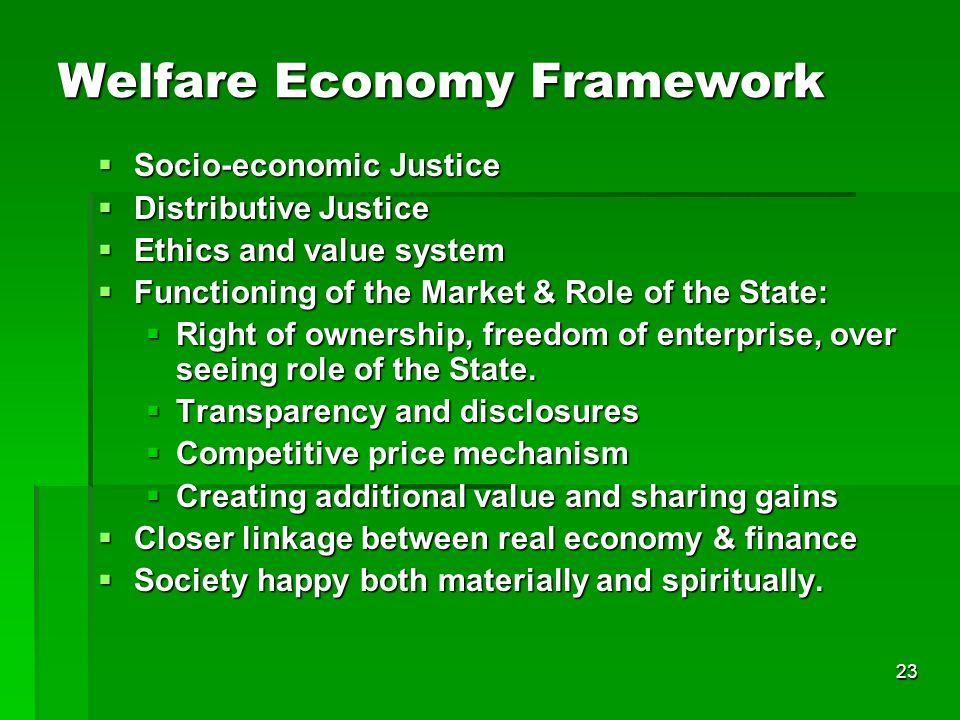23 Welfare Economy Framework Socio-economic Justice Socio-economic Justice Distributive Justice Distributive Justice Ethics and value system Ethics an