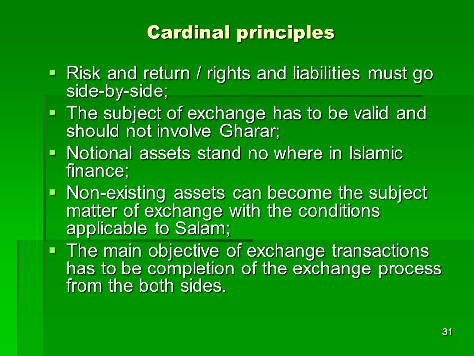 31 Cardinal principles Risk and return / rights and liabilities must go side-by-side; Risk and return / rights and liabilities must go side-by-side; T