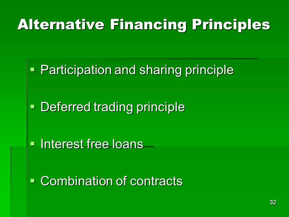 32 Alternative Financing Principles Participation and sharing principle Participation and sharing principle Deferred trading principle Deferred tradin