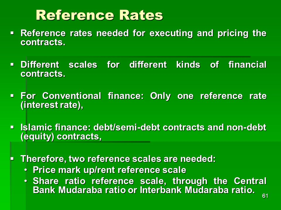 61 Reference Rates Reference rates needed for executing and pricing the contracts. Reference rates needed for executing and pricing the contracts. Dif