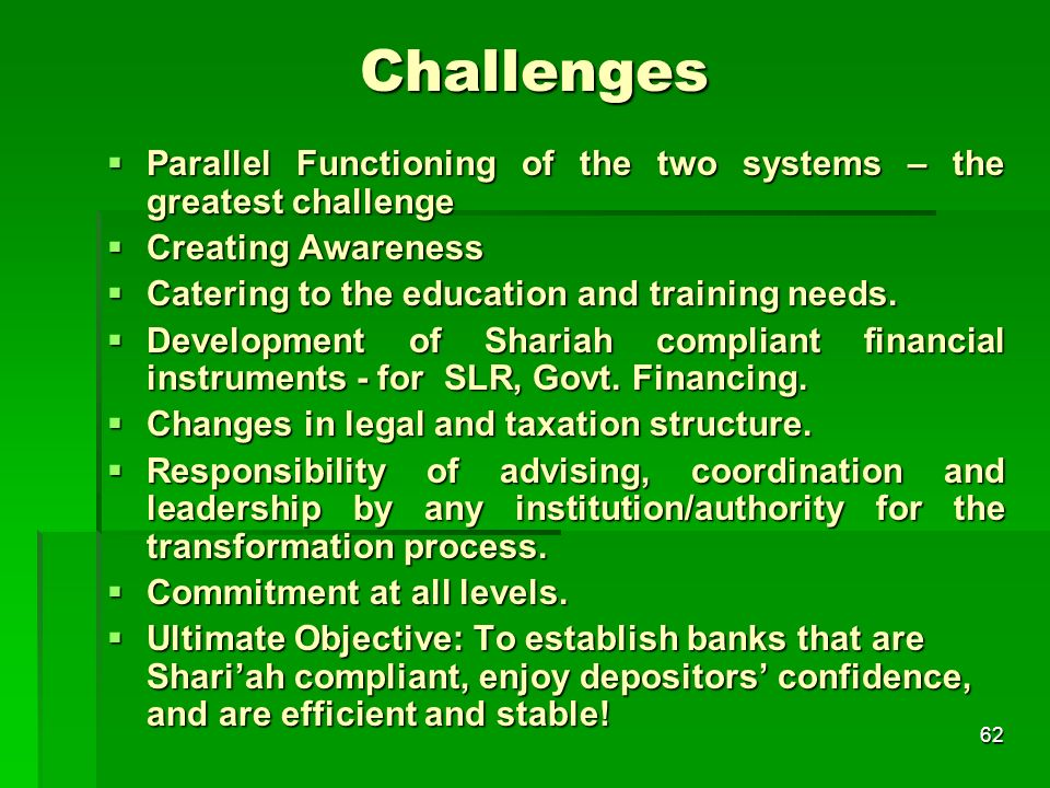 62 Challenges Parallel Functioning of the two systems – the greatest challenge Parallel Functioning of the two systems – the greatest challenge Creati