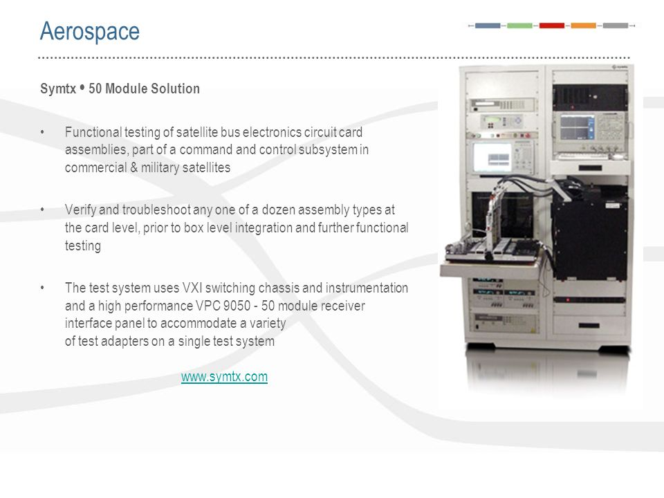 Symtx 50 Module Solution Functional testing of satellite bus electronics circuit card assemblies, part of a command and control subsystem in commercia