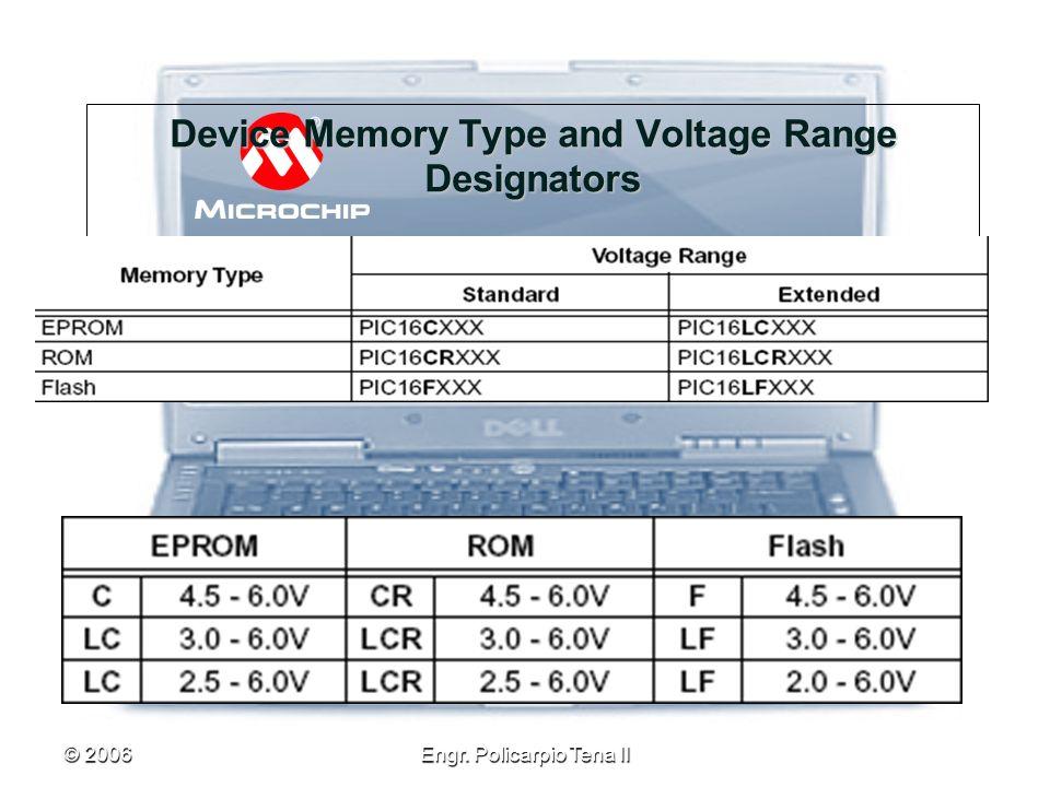 © 2006Engr. Policarpio Tena II Device Memory Type and Voltage Range Designators