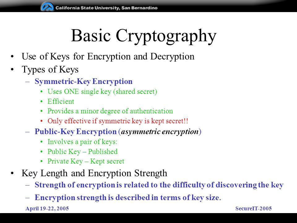 April 19-22, 2005SecureIT-2005 Basic Cryptography Use of Keys for Encryption and Decryption Types of Keys –Symmetric-Key Encryption Uses ONE single ke