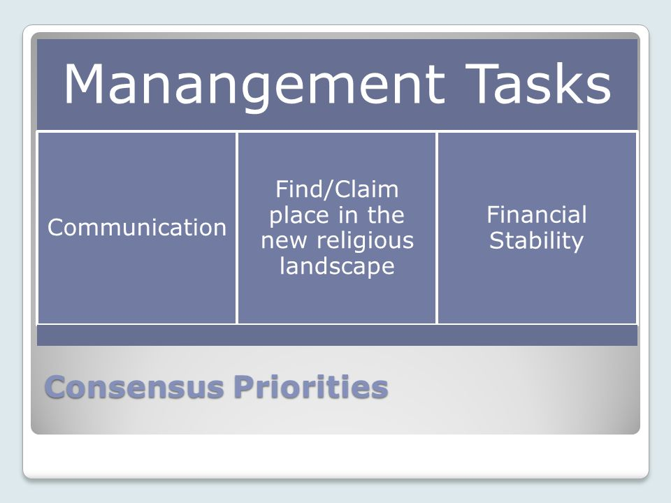 Consensus Priorities Manangement Tasks Communication Find/Claim place in the new religious landscape Financial Stability