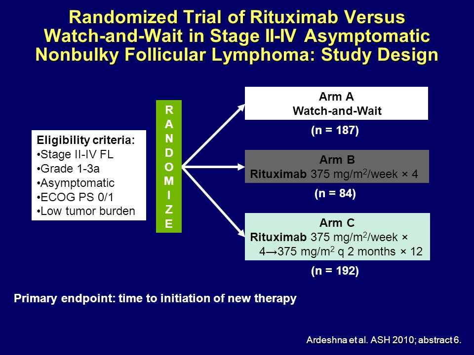 Randomized Trial of Rituximab Versus Watch-and-Wait in Stage II-IV Asymptomatic Nonbulky Follicular Lymphoma: Study Design Ardeshna et al. ASH 2010; a