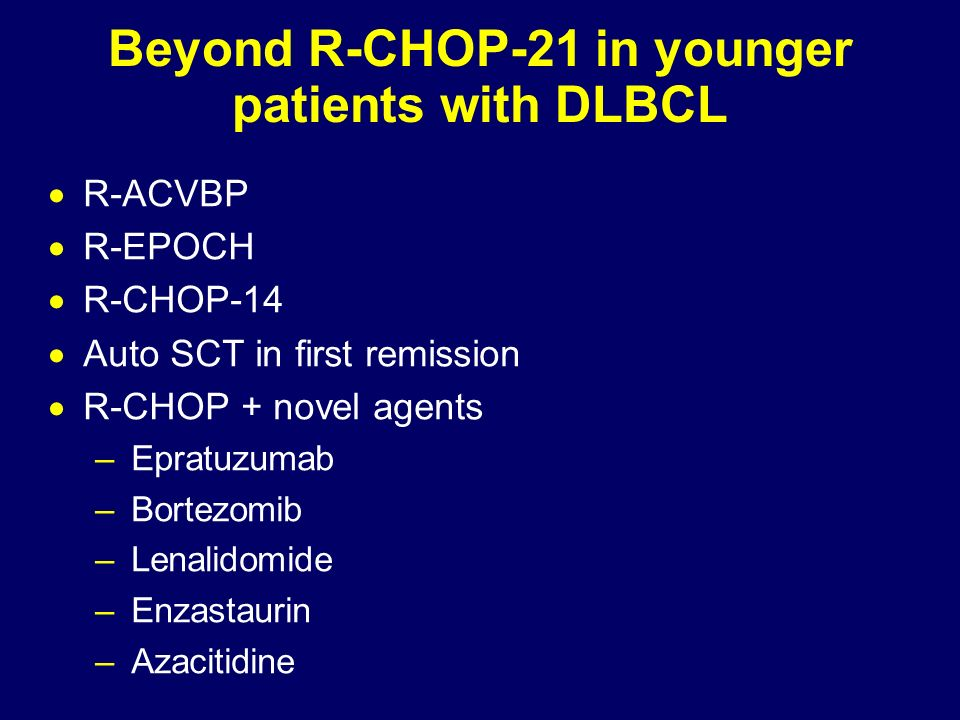 Beyond R-CHOP-21 in younger patients with DLBCL R-ACVBP R-EPOCH R-CHOP-14 Auto SCT in first remission R-CHOP + novel agents –Epratuzumab –Bortezomib –