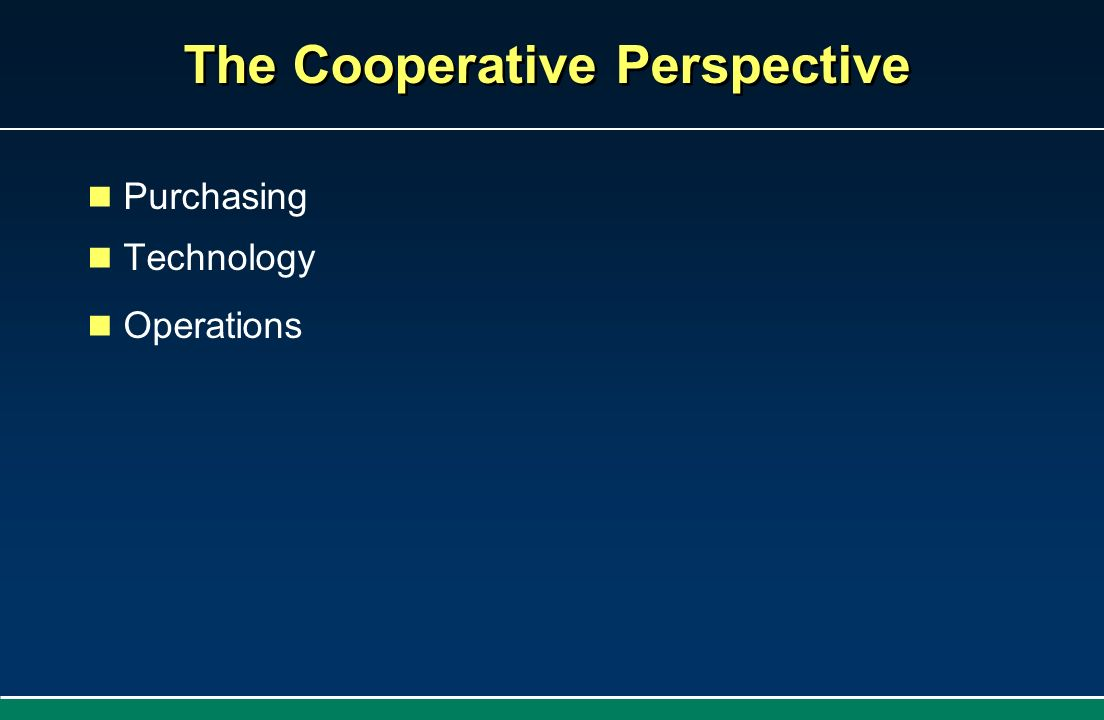 The Cooperative Perspective Purchasing Technology Operations