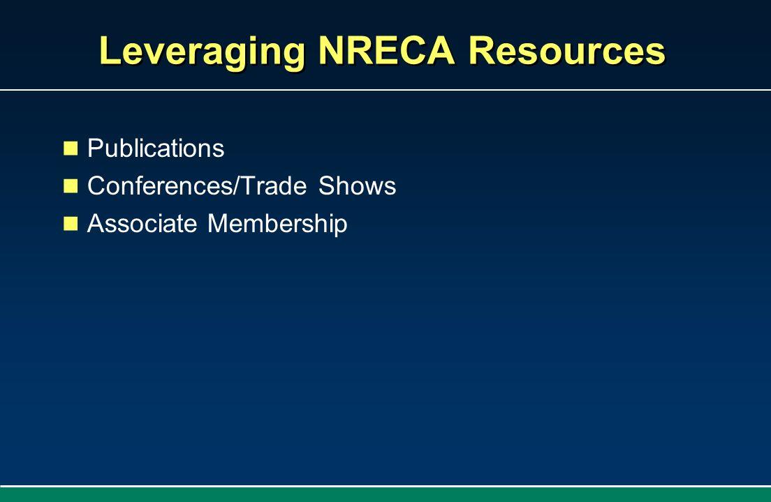 Leveraging NRECA Resources Publications Conferences/Trade Shows Associate Membership