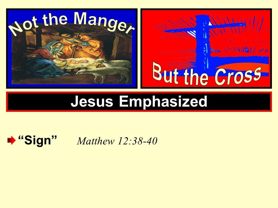 Jesus Emphasized Sign M atthew 12:38-40