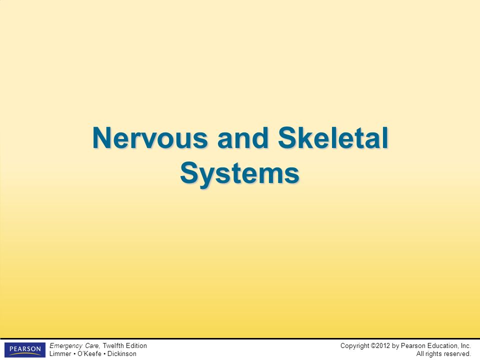 Copyright ©2012 by Pearson Education, Inc. All rights reserved. Emergency Care, Twelfth Edition Limmer OKeefe Dickinson Nervous and Skeletal Systems