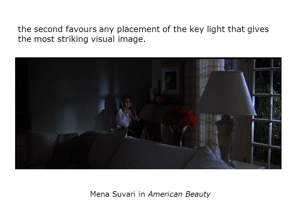 the second favours any placement of the key light that gives the most striking visual image. Mena Suvari in American Beauty